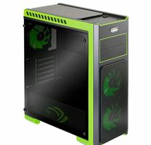Green Z3 CRYSTAL GREEN TEMPERED GLASS Mid Tower Case